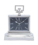 Woodland Import 27850 Nickel Plated Table Clock with Three Tier Base