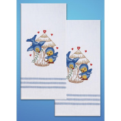 Tobin T212935 Stamped Kitchen Towels For Embroidery-Bird