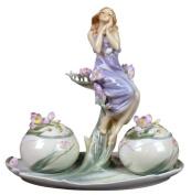 Unicorn Studios AP20193YA Lady with Pink Freesia Flowers Porcelain Bowl