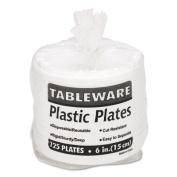 Tablemate 6644WH Plastic Dinnerware Plates 6 Diameter White 125 per Pack