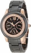 Charles-Hubert Paris 6810-B Rose-Gold Plated Stainless Steel Case Ceramic Band Black Dial Multi-Function Watch