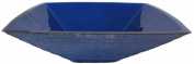 Novatto TIS-286B FRESCO Dark Blue Square Frosted Glass Vessel Sink 18.25 Inches Wide Blue