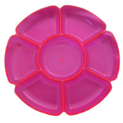 Northwest Enterprises 209215 Neon Pink Round 7 Section Tray