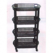 MBR Industries ST-31510 4-Tier Rolling Kitchen Cart - Black