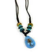 ED SPELDY EAST NEK102 Necklace Beaded Gold Scorpion Blue Background