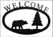 Village Wrought Iron WEL-83-L Large Bear and Pine Welcome Sign
