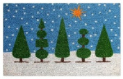 DC MILLS 12099 Topiary With Snowflakes - Vinyl Back Mat - 18 X 30 Inches