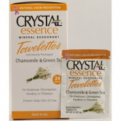 Crystal Body Deodorant Biodegradable Deodorant Towelettes Chamomile & Green Tea, Chamomile & Green Tea 24 ct