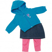 Fibre Craft 153160 Springfield Collection Casual Outfit-Teal Hoodie Denim Skirt & Pink Pants