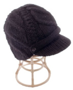 Nirvanna Designs CH503 Flat Cable Brim Hat with Fleece Lining - Black