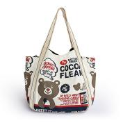 Blancho Bedding AWH-02001 Cocoa Fleak Eco Canvas Shoulder Tote Bag / Shopper Bag / Multiple Pockets
