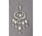 Beverly Clark 56-2229/SLV Silver Chain Chandelier Indian Looking Pendant With Pearls