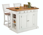 Home Styles 5002-948 Kitchen Island and Stools, White and Distressed Oak Finish