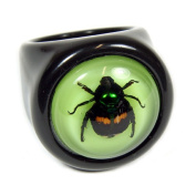 Ed Speldy East R0017-7 Black Lucky Beetle Ring with Green Back - Size 7