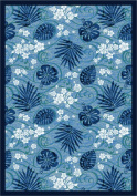 Joy Carpets 1572B-01 Trade Winds Navy 3 ft.10 in. x 5 ft.4 in. 100 Pct. STAINMASTER Nylon Machine Tufted- Cut Pile Nature Rug