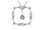 FineJewelryVault UBPD1830W14D-110 Diamond Frame Pendant : 14K White Gold - 0.25 CT Diamonds
