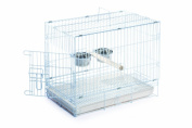 Prevue Pet Products 550-00020 Prevue Pet Products Travel Cage White 20 x 12.5 x15.5in with perch and 2 bowls