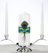 Lillian Rose WS234 Peacock Feather Pillar Candle and Two Tapers