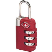 Lewis N Clark TSA23RED Travel Sentry Combo Lock - Large 3 Dial - Red
