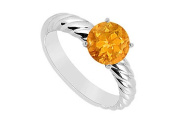 FineJewelryVault UBJS1793AW14CT-101 Citrine Ring : 14K White Gold - 1.00 CT TGW - Size