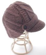 Nirvanna Designs CH503 Flat Cable Brim Hat with Fleece Lining - Dark Brown