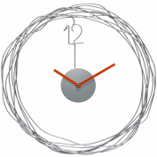 Infinity Instruments 14427SV 36cm Round Wire Transfer Clock