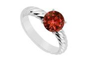 FineJewelryVault UBJS1793AW14GR-101 Garnet Ring : 14K White Gold - 1.00 CT TGW - Size