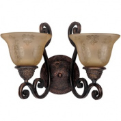 Maxim Lighting 11247SAOI Symphony 2-Light Wall Sconce with Screen Amber Glass - Oil Rubbed Bronze