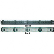 CableWholesale 68PP-03024 Rackmount 24 Port Cat 5e Patch Panel Horizontal 110 Type 568A 568B Compatible 1U