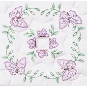 Stamped White Quilt Blocks 46cm x 46cm 6/Pkg-Interlocking Circle Of Butterflies