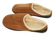 Living Healthy Products cswf1112-cam 11-12 Camel Suede Male Slippers with Wool Fleece Lining