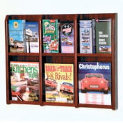 Wooden Mallet LM-9MH Divulge 6 Magazine and 12 Brochure Wall Display with Brochure Inserts in Mahogany