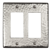 The Copper Factory Solid Hammered Copper Double GFCI Plate in Satin Nickel Finish - CF124SN