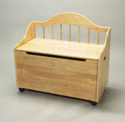 Gift Mark Natural Deacon Style Toy Box with Spindle Back and Casters