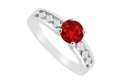 FineJewelryVault UBJS3075AW14DR-101 Ruby and Diamond Engagement Ring : 14K White Gold - 0.75 CT TGW - Size 7