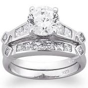 MBM Company 177300009 Sterling Silver 2PC CZ Wedding Ring Set - Size 6