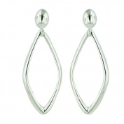 Vera and Co 2S-6003E Sterling Silver Plain Dangle Marquise Drop with Oval Post