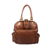Blancho Bedding WS64-TAN Rose Favorite Fashion Tan Double Handle Leatherette Satchel Hobo Handbag with Shoulder Strap