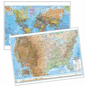Universal Map 079254466X World Advanced Physical Deskpad Map 30 Boxed Set