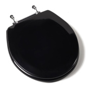 Jones Stephen C1B4R2-90CH Deluxe Molded Round Wood Toilet Seat with Chrome Hinges- Black