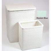 Redmon 7212IB Chelsea Pattern Wicker Nursery Hamper And Matching Wastebasket - Illusion Blue