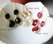 Rebecca GDEGC Gemstone Dangle Earrings - Gold Clear