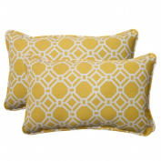 Pillow Perfect 506739 Outdoor Rossmere Corded Rectangular Throw Pillow in Yellow - Set of 2 - Yellow-White