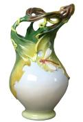 Unicorn Studios AP20007AA Porcelain White Vase - Grape Leaf Dragonfly Motif