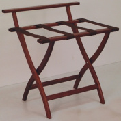 Wooden Mallet LR4-MHBRN WallSaver Luggage Rack in Mahogany with Brown Webbing