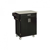Home Styles Kitchen Cart with Stainless Steel Top - Black