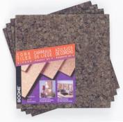 Acco Brands 4 Pack 30cm . X 30cm . X .60cm . Dark Cork Tiles 15050Q - Pack of 4