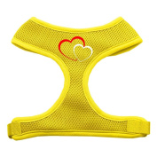 Mirage Pet Products 70-11 LGYW Double Heart Design Soft Mesh Harnesses Yellow Large