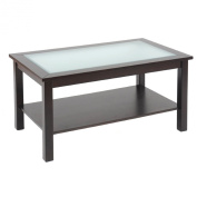 Bay Shore Collection F68312-02 Coffee Table with Glass Insert Top and Lower Shelf - Espresso