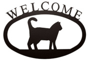 Village Wrought Iron WEL-6-S Small Welcome Sign-Plaque - Cat